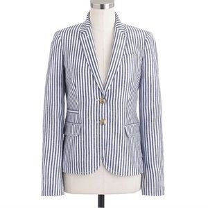 J. Crew school boy blazer linen blue striped 46077